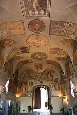 Main gate, Palazzo dei Vicari, Scarperia, Florence, Tuscany, Italy, Europe