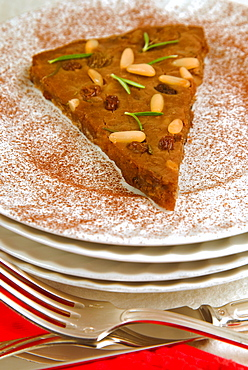 Castagnaccio, pie of chestnut flour with raisins, rosemary and pine nuts, Tuscany, Italy, Europe
