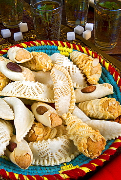 Moroccan biscuits and mint tea,  Morocco, North Africa, Africa