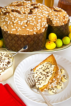 Colomba cake (dove cake) with cream sauce, an Italian speciality for Easter Day, Italy, Europe