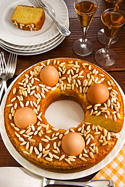Ciambella marchigiana, a ring cake with pinenut filling and eggs, a traditional Italian cake for Easter, Marche, Italy, Europe