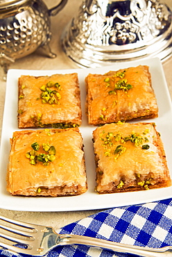 Baklava, sweet pastry made of layers of filo pastry filled with chopped nuts and sweetened with syrup or honey, Arabic gastronomy, Middle East