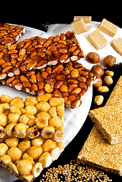 Croccante, a nut crisp sweet typical of many areas of Italy, made from sugar and almonds, hazelnuts or walnuts. Italian gastronomy, Italy, Europe