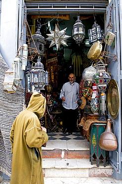 Antique shop in Rue de la Liberte, Tangier, Morocco, North Africa, Africa