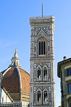 Campanile di Giotto and cathedral of Santa Maria del Fiore (Duomo), UNESCO World Heritage Site, Florence, Tuscany, Italy, Europe
