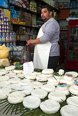 Cheese seller, street market, Medina, Tetouan, UNESCO World Heritage Site, Morocco, North Africa, Africa