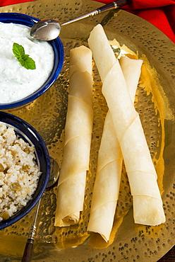 Sigara Boregi with cheese, Turkish food, Turkey, Eurasia