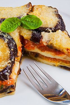 Parmigiana di melanzane, an Italian dish made with a shallow-fried sliced filling, layered with cheese and tomato sauce, Italy, Europe