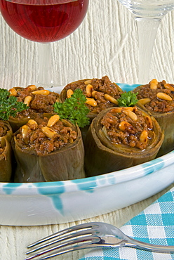 Artichokes stuffed with ground meat, spices, herbs and pine nuts, Arabic Cuisine, Lebanon, Middle East