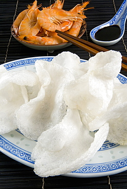 Prawn flavored crackers and soy sauce, Chinese cuisine, China, Asia