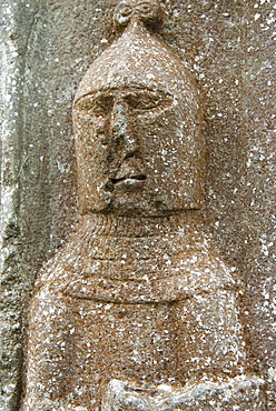 High relief of a warrior, Jerpoint Abbey, County Kilkenny, Leinster, Republic of Ireland (Eire), Europe