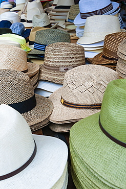 Hats for sale, Market at Piazza delle Erbe, Verona, Veneto, Italy, Europe