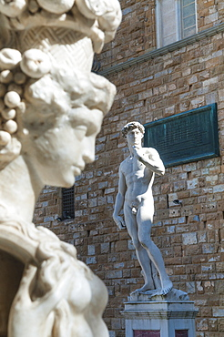 Pedestal of Perseus, The David, by Michelangelo, Piazza Signoria, Florence (Firenze), UNESCO World Heritage Site, Tuscany, Italy, Europe