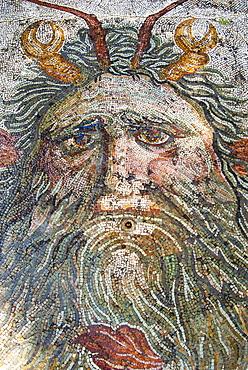 Mosaic, Neptune, Utica Punic and Roman archaeological site, Tunisia, North Africa, Africa