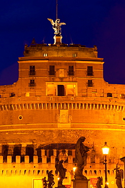 Castel Sant'Angelo and statues of Ponte Sant'Angelo, UNESCO World Heritage Site, Rome, Lazio, Italy, Europe