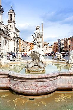 The Moor Fountain (Fontana del Moro), Piazza Navona, UNESCO World Heritage Site, Rome, Lazio, Italy, Europe
