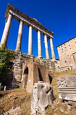 Temple of Saturn, Roman Forum, UNESCO World Heritage Site, Rome, Lazio, Italy, Europee