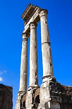 Temple of Castor and Pollux, Tempio dei Dioscuri (Dioskouri), Roman Forum, UNESCO World Heritage Site, Rome, Lazio, Italy, Europe