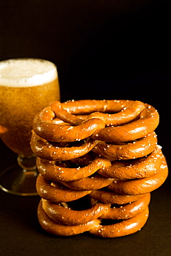 Austrian prezels, salted biscuits and beer, Austria, Europe
