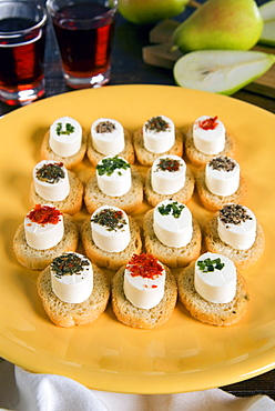 Italian starters with cheese and pot herbs, Italy, Europe