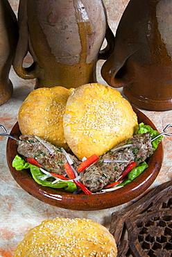 Arabic food, kofta, lamb skewers, Middle East