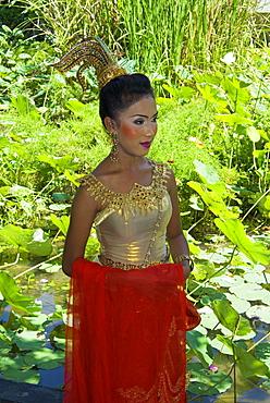 Girl in traditional Thai clothes, Phuket, Thailand, Southeast Asia, Asia