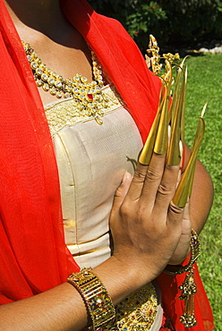 Hands of traditional Thai dancer, Thailand, Southeast Asia, Asia