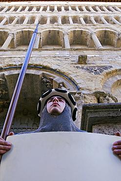 Medieval parade of Giostra del Saracino, Pieve of St. Mary, Arezzo, Tuscany, Italy, Europe