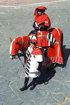 Medieval parade of Giostra del Saracino, Arezzo, Tuscany, Italy, Europe