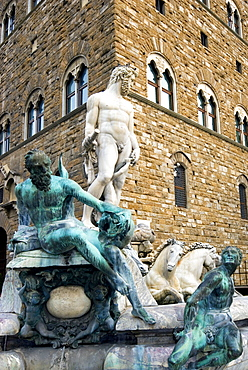 The Neptune Fountain, Piazza della Signoria, UNESCO World Heritage Site, Florence, Tuscany, Italy, Europe