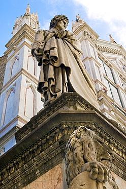 Statue of Dante Alighieri, Santa Croce, Florence (Firenze), UNESCO World Heritage Site, Tuscany, Italy, Europe