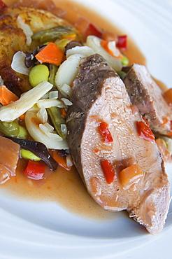 Beef fillet with vegetables, France, Europe