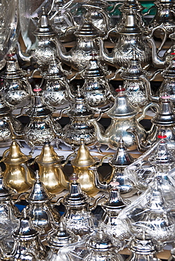 Teapots for sale in the souk, Medina, Marrakech (Marrakesh), Morocco, North Africa, Africa