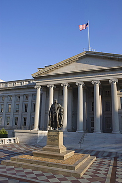 The U.S. Treasury Building with flag flying, Washington D.C., United States of America, North America