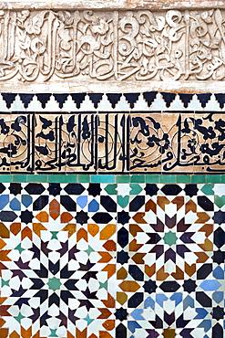 Traditional Moroccan Zallij tile work in the Ben Youssef Medersa, UNESCO World Heritage Site, Marrakech, Morocco, North Africa, Africa