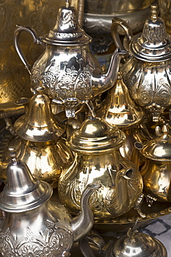 Traditional Moroccan teapots for sale in the souks, Marrakech, Morocco, North Africa, Africa