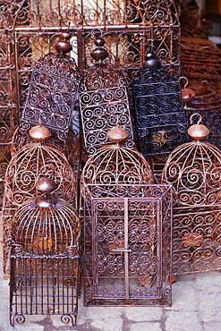 Intricately crafted bird cages in Souk Addadine (metalworkers souk), Marrakech, Morocco, North Africa, Africa