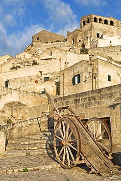 Old cart in the Sassi area of Matera, Basilicata, Italy, Europe