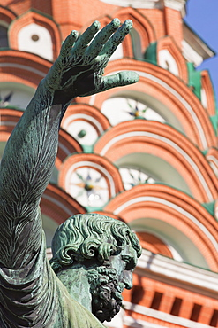 Statue of Minin and Pozharskiy and St. Basil's Cathedral in Red Square, UNESCO World Heritage Site, Moscow, Russia, Europe