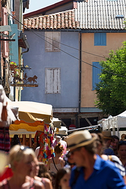 Traditional outdoor market in the historic town of Mirepoix, Languedoc-Roussillon, France, Europe