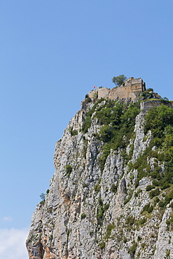 Roquefixade Carthar Castle on top of a rugged rock, Languedoc-Roussillon, France, Europe