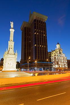 Statue of Columbus in Plaza de Colon at night, Madrid, Spain, Europe