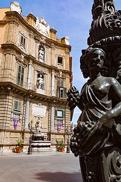 Decorative lamp post and Piazza Quattro Canti in Palermo, Sicily, Italy, Europe