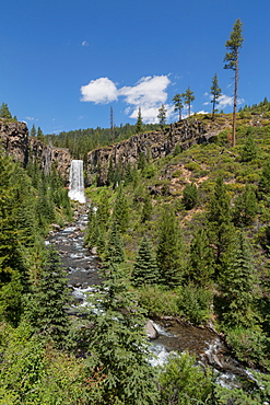 Tumalo Falls, a 97-foot waterfall on Tumalo Creek, in the Cascade Range west of Bend, Oregon, United States of America, North America
