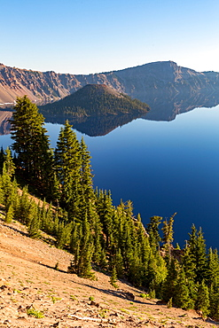 Wizard Island and the still waters of Crater Lake, the deepest lake in the U.S.A., part of the Cascade Range, Oregon, United States of America, North America