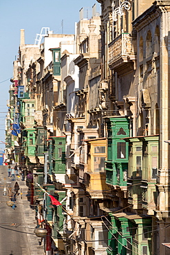 Traditional balconies on the crowded Triq Ir Repubblika street in old town Valletta, UNESCO World Heritage Site and European Capital of Culture 2018, Valletta, Malta, Mediterranean, Europe