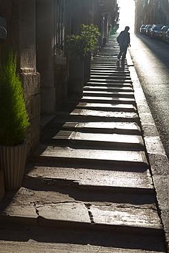 Steps on the steep Trip Ir Repubblika street in old town Valletta, UNESCO World Heritage Site and European Capital of Culture 2018, Valletta, Malta, Mediterranean, Europe