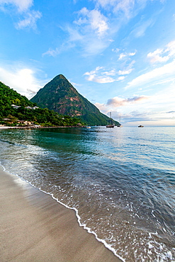 Gros Piton, UNESCO World Heritage Site, and Sugar Beach at dusk, St. Lucia, Windward Islands, West Indies Caribbean, Central America