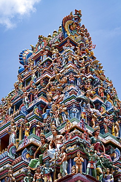 The highly decorative Gopuram (entrance tower) to Sri Srinivasa Perumal Hindu Temple in Little India, Singapore, Southeast Asia, Asia