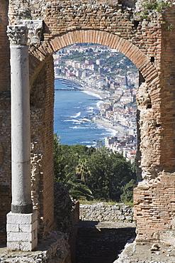 Greek Theatre and view of Giardini Naxos, Taormina, Sicily, Italy, Europe